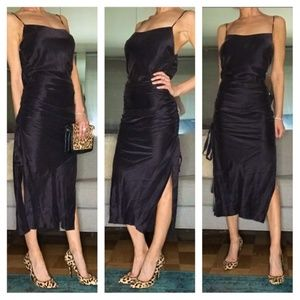 Zimmermann Silk Ruched Drawstring Slit Midi Dress